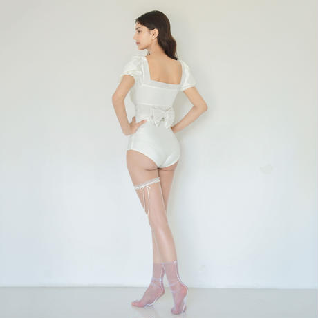 SHIRRING RIBBON SUIT(white)