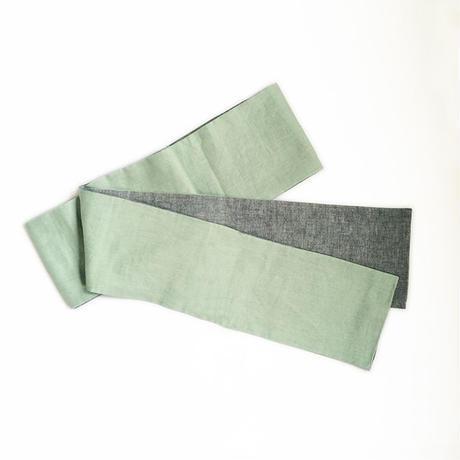 オリジナル半幅帯「薄緑×グレー」