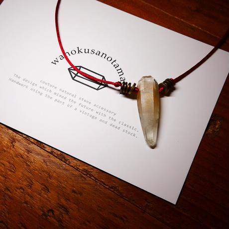 ガネーシュヒマール産ヒマラヤ水晶(クローライト)真鍮パーツネックレス
