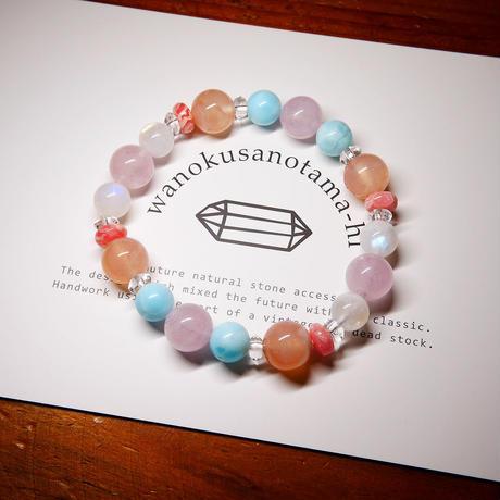 モルガナイト・ムーンストーン・インカローズ・桜アゲート・ブルーアラゴナイト・クリスタル ブレスレット