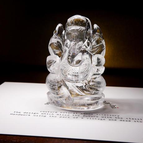 幸運の神ガネーシャ神像  GH8F インド、クル産ヒマラヤ水晶