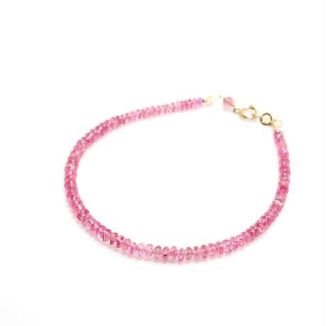 ピンクサファイアの華奢なブレスレット K10