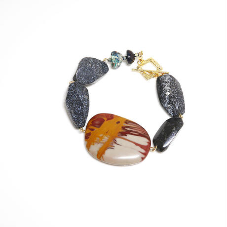 天然石のブレスレット(ジャスパー、モスアゲート、クリソコラ)
