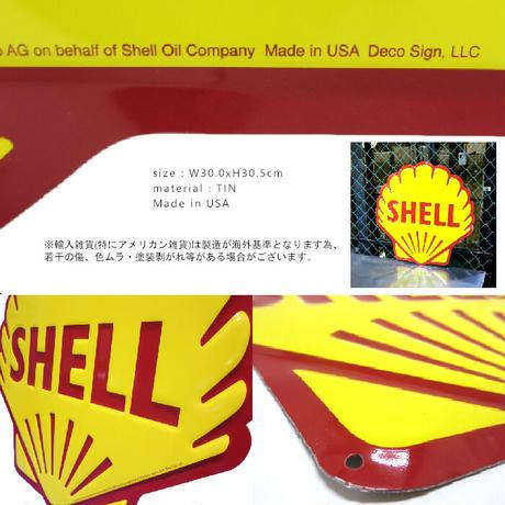 Die-cut embossed metal sign SHELLダイカット エンボスメタルサイン シェル / アメリカ直輸入【8900101】