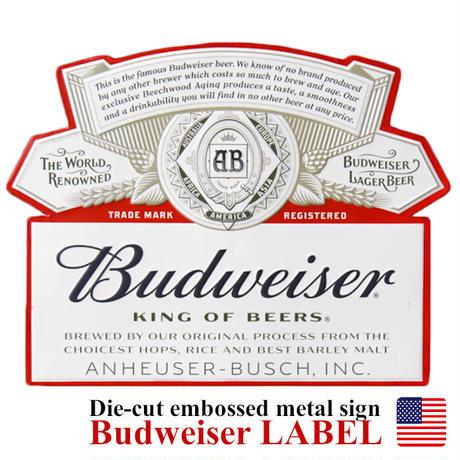 Die-cut embossed metal sign BUDWEISER LABELダイカット エンボスメタルサイン バドワイザー / アメリカ直輸入【8900100】