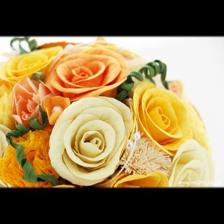 【即日発送可】和紙ラウンドブーケ・黄橙(商品番号:bouquet-002yo)