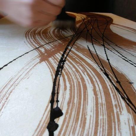 創作和紙インテリアタペストリー「紙禅」Shi-Zen和モダン樹脂デザイン40-14-1