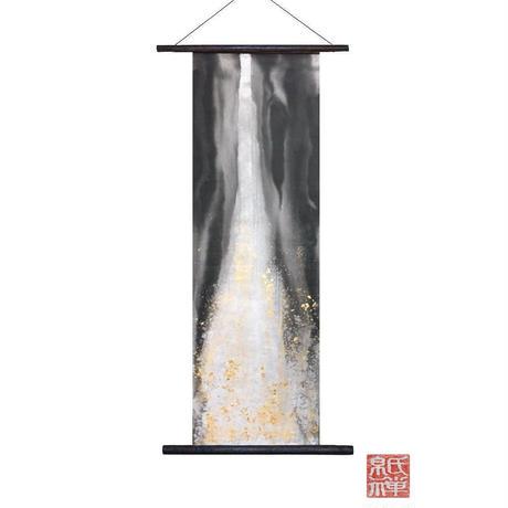 創作和紙インテリアタペストリー「紙禅」Shi-Zen和モダン滝~Waterfall /染め・金箔