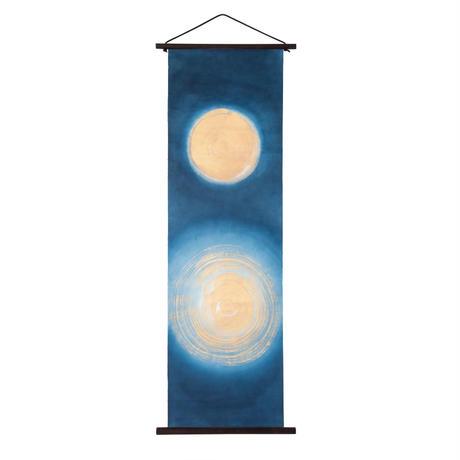 創作和紙インテリアタペストリー「紙禅」~Shi-Zen和モダン水月~Water Moon /染め・金泥