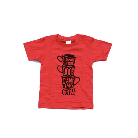 "coffee ""3 Cups""KIDS Tee Shirts (red)"
