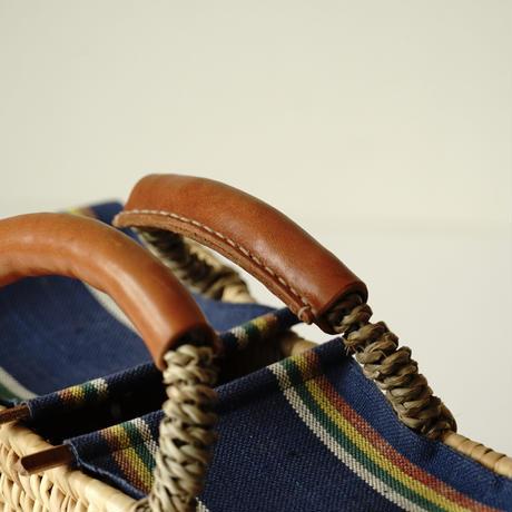 レザー巻きハンドル蓋付きかごBAG( Blue multi stripe )