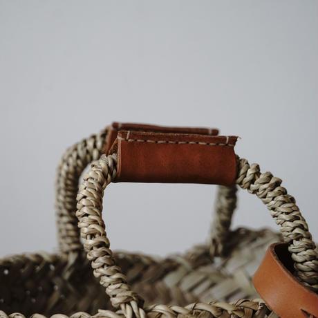 Brown leather handle BAG +antique cloth pouch