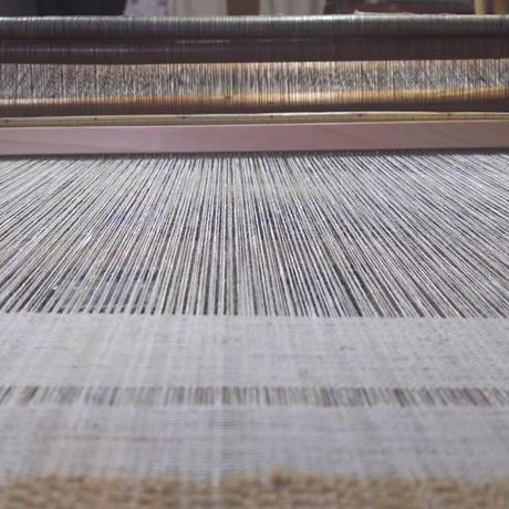 自家栽培綿 無染色 手紡ぎ手織り布 うすみどり