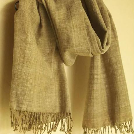 自家栽培綿 無染色 手紡ぎ手織り布 薄カーキ(別サイトへ)