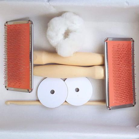 綿の実ひとつから糸を紡ぐ簡易キット・ブラシ版 解説動画あり