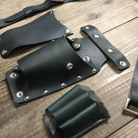 シザーケース ベルト付き ダークグリーンヌメ革