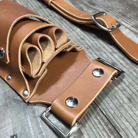 シザーケース ベルト付き 茶ヌメ革