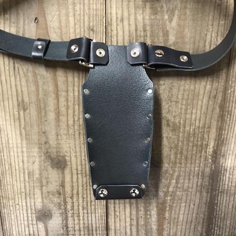 シザーケース ベルト付き 黒ヌメ革
