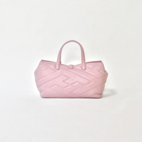 牛革キルティングハンドバッグ ピンク