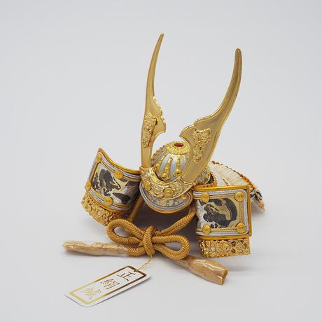 貫前鍬形兜・龍神彫金ゴールド【桜押絵飾り】