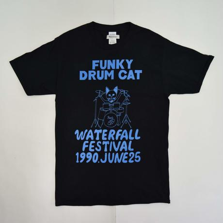 「猫ドラム」レコードワッペン猫ツアーTシャツ  ブラック S/M/L WATERFALLオリジナル限定商品