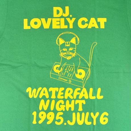 「DJ猫」レコードワッペン猫ツアーTシャツ  グリーン S/M/L WATERFALLオリジナル限定商品