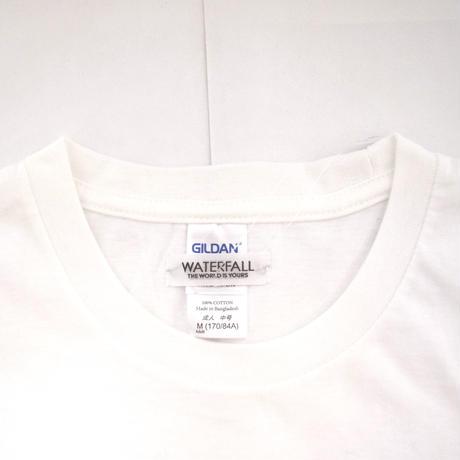 「猫ドラム」レコードワッペン猫ツアーTシャツ  ホワイト S/M/L WATERFALLオリジナル限定商品