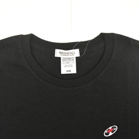 「 レコードワッペンワンポイントTシャツ(※レディース)」 ブラック WATERFALL WM / WL
