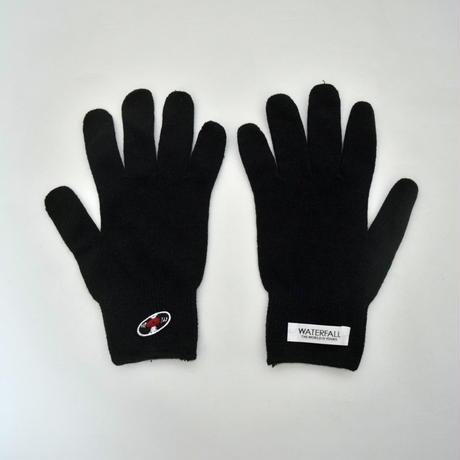 「レコードワッペン綿手袋(新型コロナウィルス対策)」ブラック F WATERFALLユニセックス