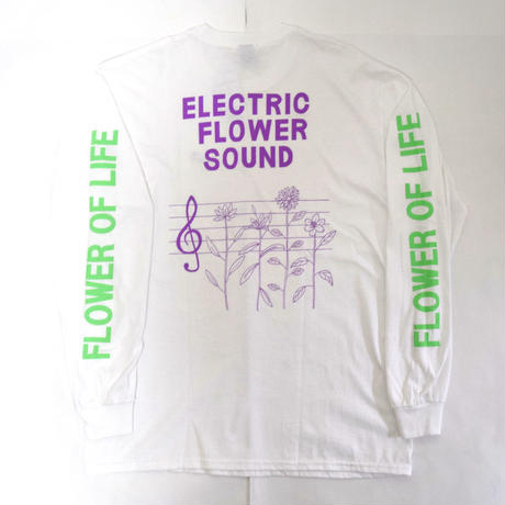 「レコードワッペン長袖Tシャツ(ELECTRIC FLOWER)」 ホワイト S/M/L/XL WATERFALL新作