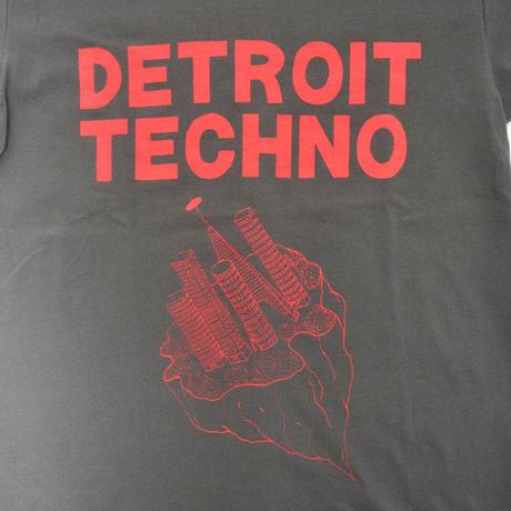 「デトロイトテクノTシャツ(DETROIT TECHNO)」チャコール S/M/L 2021SS 新作 WATERFALL