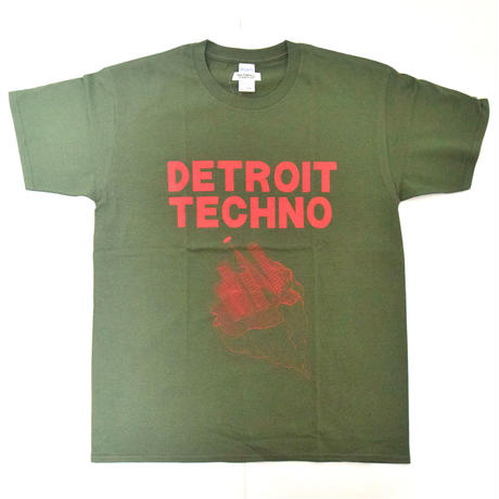 「デトロイトテクノTシャツ(DETROIT TECHNO)」カーキ S/M/L 2021SS 新作 WATERFALL