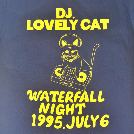 「DJ猫」レコードワッペン猫ツアーTシャツ 2021SS新色ネイビー S/M/L WATERFALL限定商品