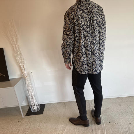 WA Oversize Shirt - 牡丹唐草柄(紺)