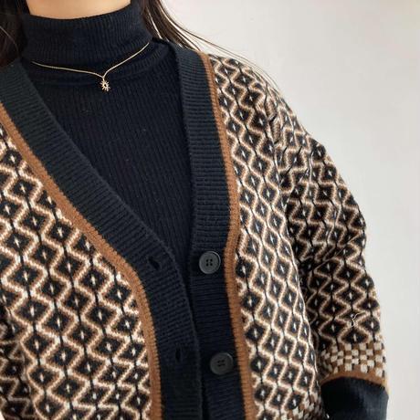 【Select】HISHI Pettern Knit Cardigan