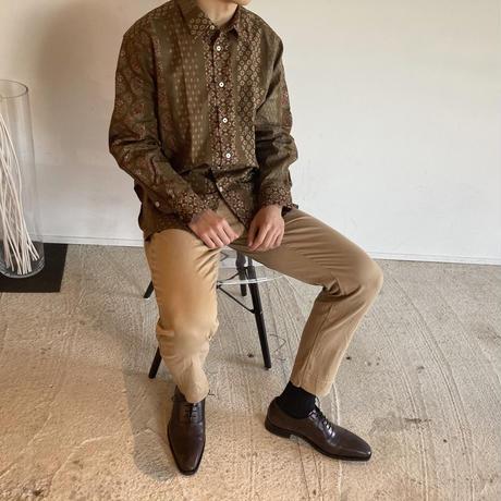 WA Oversize Shirt - 和柄縦縞模様(茶)