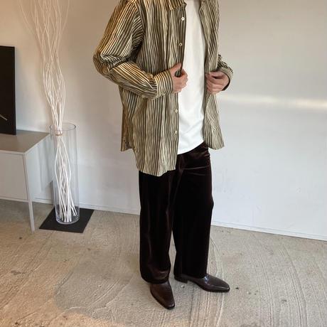 WA Oversize Shirt - よろけ縞模様(緑)