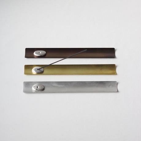 錫のお香立てと真鍮受皿 [ しずく :黒染/錫銀 ]