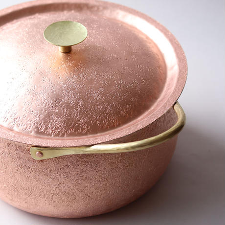 鎚目模様の純銅鍛金 両手鍋20cm