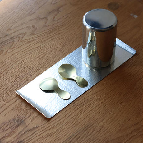 鎚目模様の真鍮茶匙