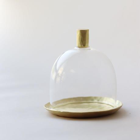 鎚目模様の真鍮皿のミニミニガラスドーム