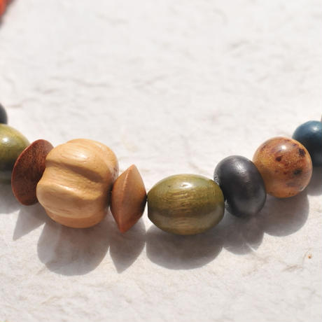 豊穣色のウッドビーズの羽織紐(メンズ)