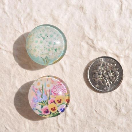 ガラスドームの帯留(白紫陽花)