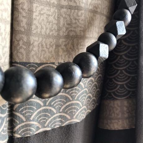 黒のウッドパーツ男性用羽織紐(107)
