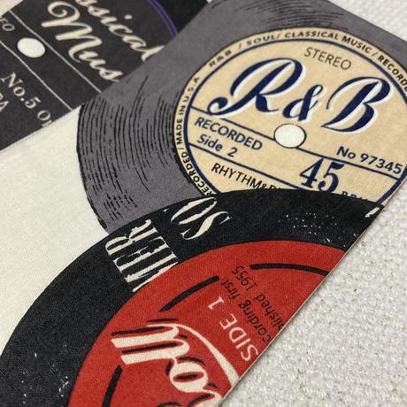 ジャズ喫茶をイメージしたレコード盤とコーヒー豆の角帯