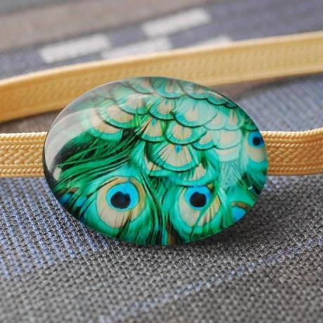 孔雀のガラスカボション帯留