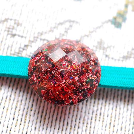 カットビジューの丸帯留(赤)