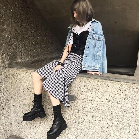EA5126 ギンガムチェックマーメイドスカート【ホワイト】