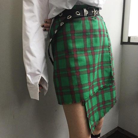 EA0185 チェック巻きスカート【グリーン】