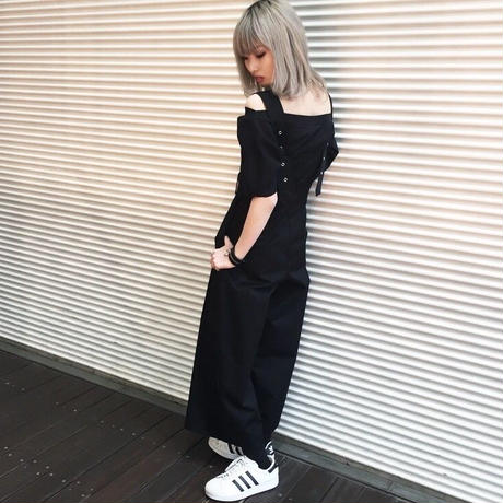 EA0159 ベルト付ワイドサロペット【ブラック】
